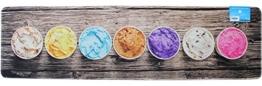 matches21 Küchenläufer Teppichläufer Teppich Läufer Sommer Eis bunte Eisbecher auf Holz Holzoptik 50x180x0,4 cm maschinenwaschbar -