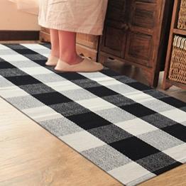 PRAGOO Baumwolle karierten Teppich Modern Küchenteppich Küchenläufer handgewebt Geflochtene Fußboden Teppich Kariert Schwarz Weiß Grau 60x130cm -