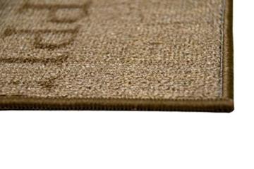 Teppich Modern Flachgewebe Gel Läufer Küchenteppich Küchenläufer Braun Beige Schwarz Creme mit Schriftzug Coffee Cappuccino Espresso Macchiato Größe 80 x 300 cm -