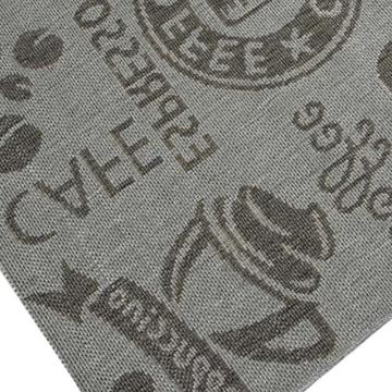 Teppich Modern Flachgewebe Sisal Optik Küchenteppich Küchenläufer in Grau mit Schriftzug Coffee Espresso Cappuccino Chocolate Größe 80x200 cm -