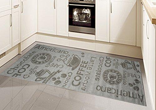teppich modern flachgewebe sisal optik k chenteppich k chenl ufer in grau mit schriftzug coffee. Black Bedroom Furniture Sets. Home Design Ideas
