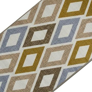 Teppichläufer mit modernem Retro Design | hochwertige Meterware, gekettelt | Kurzflor Teppich Läufer | Küchenläufer, Flurläufer (67x200 cm) -