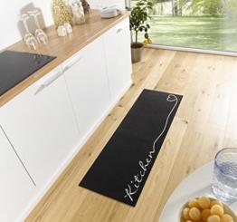 Waschbarer Küchenläufer Kitchen Schwarz 50x150 cm -