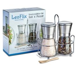 Premium Gewürzmühlen Set von LeoFlix - Salz- und Pfeffermühle inklusive Halterung und Bambuslöffel - Erhält die aromatische Frische -