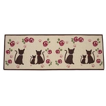 Alicemall Fußmatte Polyester Rutschfeste Saugfähig Weich Küchenläufer Fußabtreter für Bad Indoor Wohnzimmer Schlafzimmer Abriebfest Schnelltrocknend Matte 50 x 140 cm ( Katzen und Blumen ) -