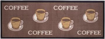 Andiamo 1100335 Küchenläufer Coffee Cups Küchenteppich Tassen Kaffee Oeko Tex, 67 x 180 cm, braun -