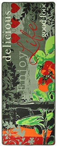 Hanse Home 102084 Teppichläufer, Polyamid, grau / grün, 67 x 180 x 0.8 cm -