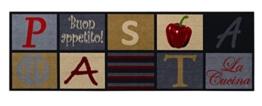 """Küchenläufer / Küchenmatte / Dekoläufer für Küche und Bar / Teppich Läüfer / waschbare Küchenläufer / Küchendeko Modell ,,COOK & WASH Pasta """" Größe ca. 50 x 150 cm / Maschinen waschbar auf 30 grad -"""