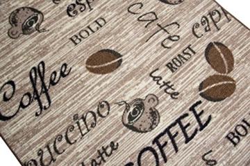 Teppich Modern Flachgewebe Gel Läufer Küchenteppich Küchenläufer Braun Beige Schwarz mit Schriftzug Coffee Cappuccino Espresso Latte Größe 80x150 cm -