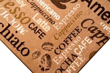 Teppich Modern Flachgewebe Gel Läufer Küchenteppich Küchenläufer Braun Beige Schwarz mit Schriftzug Coffee Macchiato Cappuccino Espresso Größe 67x180 cm -