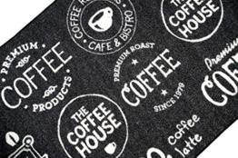 Teppich Modern Flachgewebe Gel Läufer Küchenteppich Küchenläufer Schwarz Weiss mit Schriftzug Coffee Größe 67x180 cm -