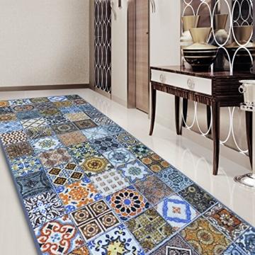 Teppichläufer Bonita | Patchwork Muster im Vintage Look | viele Größen | moderner Teppich Läufer für Flur, Küche, Schlafzimmer | Niederflor Flurläufer, Küchenläufer | Breite 80 cm x Länge 200 cm -