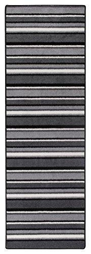 Teppichläufer Kurzflorteppich Streifendesign Läufer mit Streifen Küchenläufer – Wohnzimmer Eingangsbereich Flur Küche – mehrfarbig gekettelt strapazierfähig pflegeleicht – 65cm x 200cm schwarz/weiß -