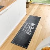 Waschbarer Küchenläufer Kitchen is open Schwarz Grau Weiߟ 50x150 cm -