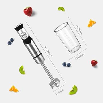 Aigostar Stirring Silver 30IOM - Stabmixer mit Becher, Jog Touch-Schalter mit 600Watt, Lebensmittelqualität 304 Edelstahl, BPA frei. Exklusives Design. - 3
