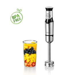 Aigostar Stirring Silver 30IOM - Stabmixer mit Becher, Jog Touch-Schalter mit 600Watt, Lebensmittelqualität 304 Edelstahl, BPA frei. Exklusives Design. - 1