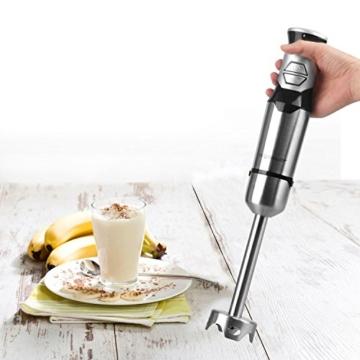 Aigostar Stirring Silver 30IOM - Stabmixer mit Becher, Jog Touch-Schalter mit 600Watt, Lebensmittelqualität 304 Edelstahl, BPA frei. Exklusives Design. - 5