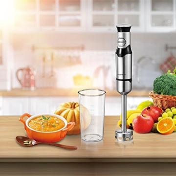 Aigostar Stirring Silver 30IOM - Stabmixer mit Becher, Jog Touch-Schalter mit 600Watt, Lebensmittelqualität 304 Edelstahl, BPA frei. Exklusives Design. - 7