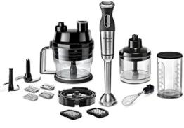 Bosch MSM881X2 Stabmixer-Set (800 W, Würfelschneider, 12 Geschwindigkeiten, edelstahl-Mixfuß, umfangreiches Zubehör, gebürstet) schwarz/edelstahl - 1