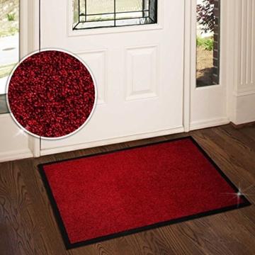 casa pura® Premium Fußmatte in attraktiver Optik | Schmutzfangmatte in 5 Größen | rot | 90x150cm - 4