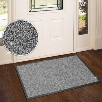 casa pura® Premium Fußmatte in attraktiver Optik | Schmutzfangmatte in 5 Größen | hellgrau | 90x150cm - 3