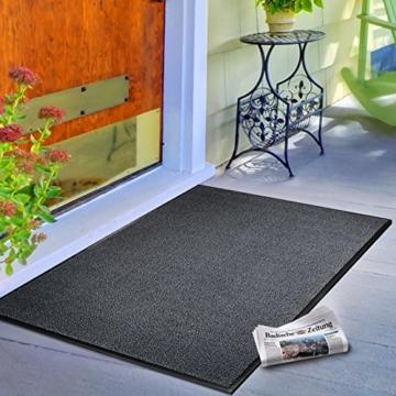 casa pura® Premium Fußmatte / Sauberlaufmatte für Eingangsbereiche | Fußabtreter mit Testnote 1,7 | Schmutzfangmatte in 8 Größen als Türvorleger innen und außen | anthrazit - grau | 60x90cm - 3