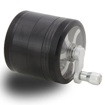 DCOU große hand kurbelte premium Mühle unzerbrechlich CNC Aluminium Metal Kräuter Tabak Grinder Crusher Schleifer mit Siebgrinder, 4 teile von, Ø55mm (Schwarz) - 2