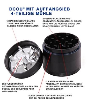 DCOU große hand kurbelte premium Mühle unzerbrechlich CNC Aluminium Metal Kräuter Tabak Grinder Crusher Schleifer mit Siebgrinder, 4 teile von, Ø55mm (Schwarz) - 4