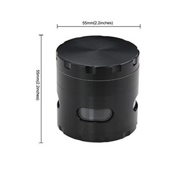 DCOU neue Design Premium Krautmühle mit Siebgrinder haltbare Zamak-Legierung Tabak Grinder Crusher Gewürz-Schleifer Ø55mm 4 Teile (Schwarz) - 2