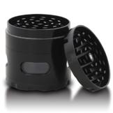 DCOU neue Design Premium Krautmühle mit Siebgrinder haltbare Zamak-Legierung Tabak Grinder Crusher Gewürz-Schleifer Ø55mm 4 Teile (Schwarz) - 1