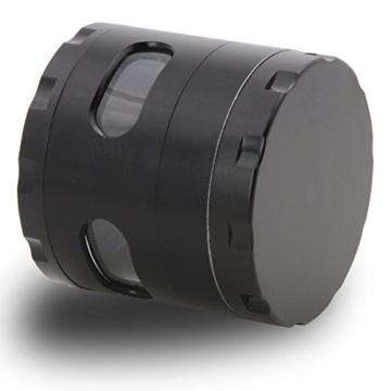 DCOU neue Design Premium Krautmühle mit Siebgrinder haltbare Zamak-Legierung Tabak Grinder Crusher Gewürz-Schleifer Ø55mm 4 Teile (Schwarz) - 3