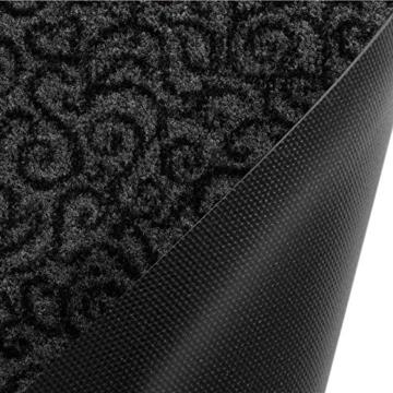 Design Schmutzfangmatte | mit Schnörkelmuster | für Eingangsbereich | Fußmatte in vielen Größen und Farben | grau 40x60 cm - 2