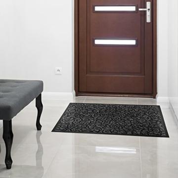 Design Schmutzfangmatte | mit Schnörkelmuster | für Eingangsbereich | Fußmatte in vielen Größen und Farben | grau 40x60 cm - 3