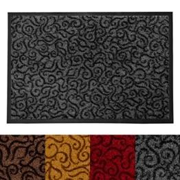 Design Schmutzfangmatte | mit Schnörkelmuster | für Eingangsbereich | Fußmatte in vielen Größen und Farben | grau 40x60 cm - 1