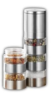 Esmeyer 290-246 Gewürzmühle SPICY mit 5 getrennten Ebenen,  Keramikmahlwerk und Kunststoff Dosen, Ø: 50 mm, Höhe: 250 mm, Volumen: 5x0,05 Liter, - 1