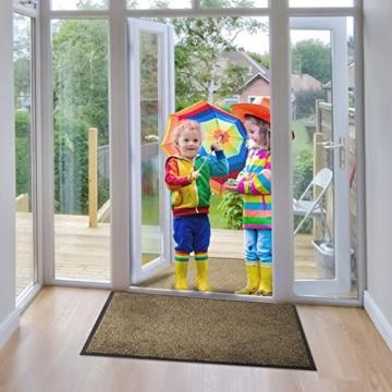 etm® Schmutzfangmatte - Note 1,6: Sieger Preis-Leistung - Fußmatte in vielen Größen - Fußabstreifer für Haustür innen und außen (Ocker-Schwarz, 90x150 cm) - 5