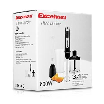 Excelvan 3-in-1 600W Stabmixer mit Zubehör Set--Edelstahl-Mixfuß, Schneebesen, 500ml Universalzerkleinerer, 600ml Messbecher. 2 Geschwindigkeitsstufen schwarz - 9
