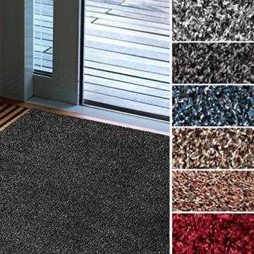 Fußmatte Karat für Eingangsbereiche | extra saugstarke Schmutzfangmatte aus Baumwolle | rutschfest | waschbar | zahlreiche Größen | viele Farben | 60x100 cm | Grau - 1