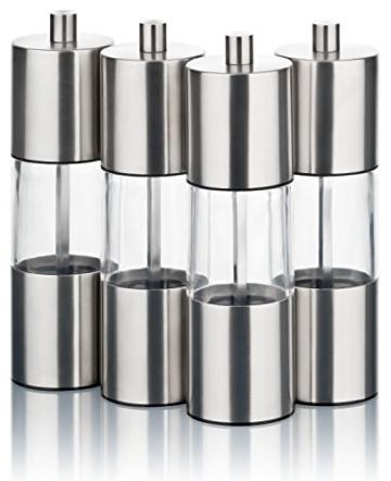 Gewürzmühlen Set 4er mit Keramikmahlwerk | Salz- und Pfeffermühlen aus hochwertigem Edelstahl und Acrylglas | manuell einstellbare Mahlstufen | perfekt für Meersalz, Pfeffer und andere Gewürze - 4