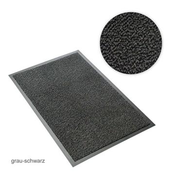 Kettelservice-Metzker® Schmutzfangmatte | Sauberlaufmatte | versch.Farben & Größen | incl.Fleckentferner | grau-schwarz meliert 60 x 90 cm - 2