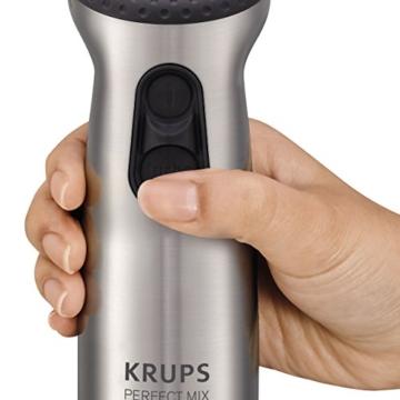Krups HZ4071 Stabmixer Perfect Mix Pro 9000 inkl. Mixbecher, Mini-Zerkleinerer, Schneebesen, Kartoffelstampfer, 4-Messer, 20 Geschwindigkeitsstufen, Turbostufe, 1000 W, grau / edelstahl gebürstet - 9