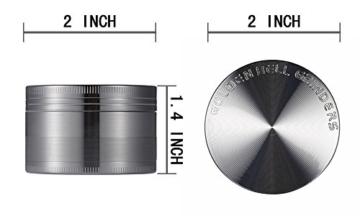 LIHAO Pollen Grinder Crusher für Tabak,Spice,Kräuter,Gewürze,Herb,Kaffee 4-teiliges Set mit Pollen Scraper (Nickel-Schwarz) - 5