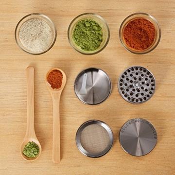 LIHAO Pollen Grinder Crusher für Tabak,Spice,Kräuter,Gewürze,Herb,Kaffee 4-teiliges Set mit Pollen Scraper (Nickel-Schwarz) - 7