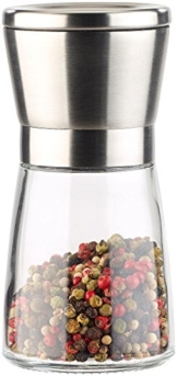 PEARL Pfeffermühle: Manuelle Gewürzmühle mit Keramik-Mahlwerk, Glas und Edelstahl, 13 cm (Gewürzmühle Keramikmahlwerk) - 1