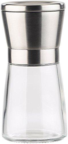 PEARL Pfeffermühle: Manuelle Gewürzmühle mit Keramik-Mahlwerk, Glas und Edelstahl, 13 cm (Gewürzmühle Keramikmahlwerk) - 6