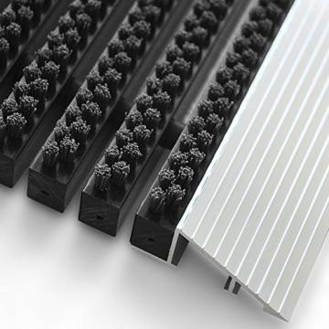 Repräsentative Fußmatte Profi Brush - Testurteil Sehr Gut - Schmutzfangmatte mit Alu Rahmen für außen und innen - verschiedene Bürsten Farben und Größen ( 50x80cm Schwarz ) - 3