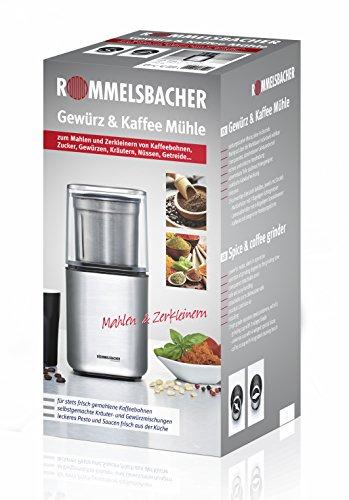 ROMMELSBACHER EGK 200 elektrische Gewürz & Kaffeemühle / 2 auswechselbare Edelstahlbehälter mit Schlagmesser & Spezialmesser / 200 W / Edelstahl - 3