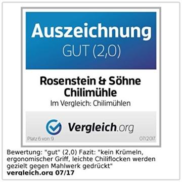 Rosenstein & Söhne Chillimühle: Gewürz- und Chilimühle mit Edelstahl-Mahlwerk (Mühlen) - 5