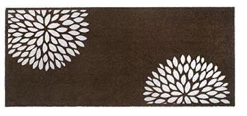 Sauberlaufmatte mit Blumen in Taupe   150 x 67 cm   Schmutzfangmatte   Türvorleger   Fußmatte   waschbar bis 30°   verschiedene Motiv zur Auswahl - 1