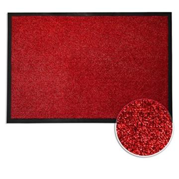 Schmutzfangmatte ColorLine | viele Größen und Farben zur Auswahl | Fußmatte für Innenbereich | Mono Color Rot 60x180 cm - 4